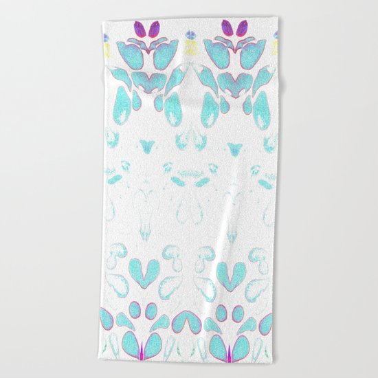 Summer Vibes, Blue and Purple Neon Leaves Beach Towel
