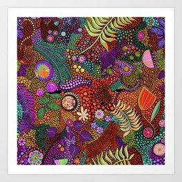 Brilliant Colorful Dot Dash Line Art Art Print