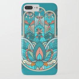 Hamsa Hand of Fatima, good luck charm, protection symbol anti evil eye iPhone Case