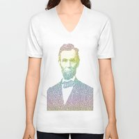 lincoln V-neck T-shirts featuring Lincoln by aaronleeharris