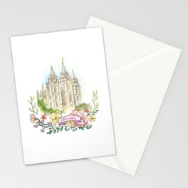 Salt Lake City LDS watercolor Temple with flower wreath Stationery Cards