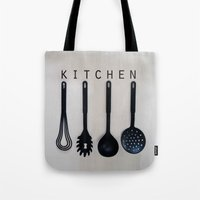 kitchen Tote Bags featuring KITCHEN by MadiS