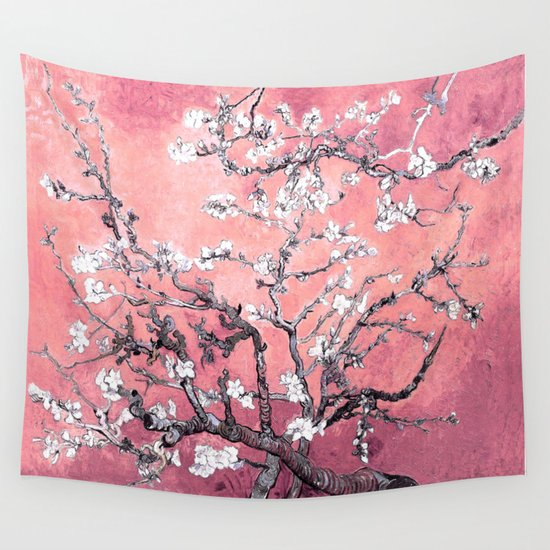 Pink Wall Tapestry van gogh almond blossoms : peachy pink wall tapestry