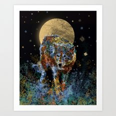 floral animals wolf and stars Art Print