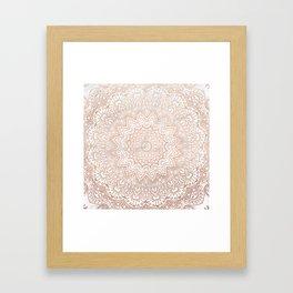Mandala - rose gold and white marble 3 Framed Art Print
