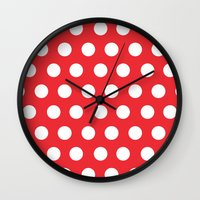 minnie mouse Wall Clocks featuring Minnie Mouse Dots | Red by DisPrints