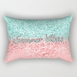 Summer Vibes Glitter with Typo #1 #coral #mint #shiny #decor #art #society6 Rectangular Pillow