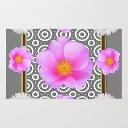 Modern Art Style Shasta Daisy Pink Roses  Grey color Abstract art Rug