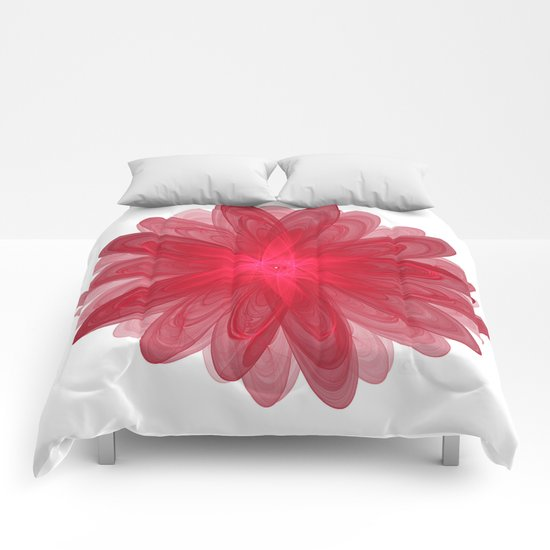 Red Flower Bloom Fractal Comforters