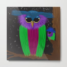 The Prismatic Crested Owl Metal Print
