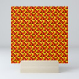 Tiled pattern of dark yellow rhombuses and red triangles in a zigzag pyramid. Mini Art Print