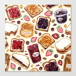 Peanut Butter and Jelly Watercolor Canvas Print