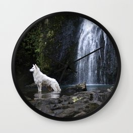 Astro the white german shepard Wall Clock