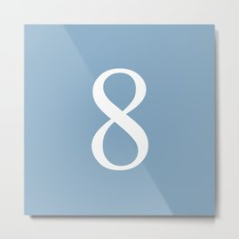 number eight sign on placid blue color background Metal Print