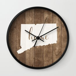 Connecticut is Home - White on Wood Wall Clock