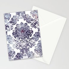 Blueberry Damask Stationery Cards