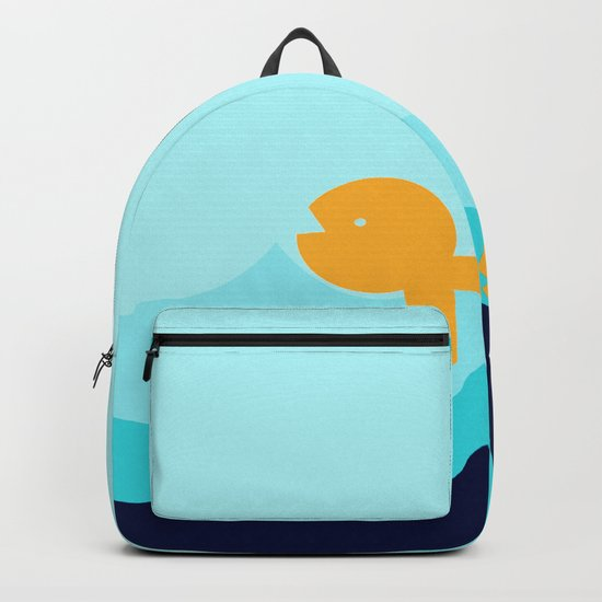Beach Series Aqua- Gold Fish Animals in the deep See Backpack