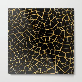 Black And Gold Crack Pattern Metal Print
