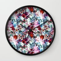 floral pattern Wall Clocks featuring Floral Pattern by Eduardo Doreni