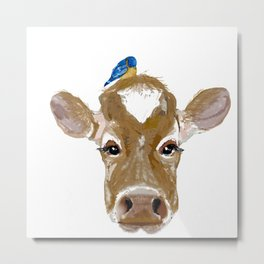 Bluebird Cow Metal Print