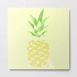 Pineapple watercolour (yellow) Metal Print