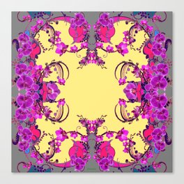 Modern  Orchids Gold Color Fantasy Scrolls & Flowers Ferns Art Canvas Print