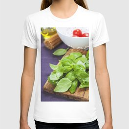 Basil and ingredients for making italian pasta T-shirt