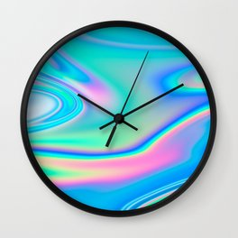 Holographic Iridescent Chill Vibes Wall Clock