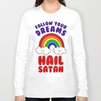 satan Long Sleeve T-shirts featuring Hail Satan by Vile Art