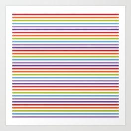 Modern artistic geometrical colorful violet orange green stripes Art Print