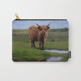 Highland Cow By The Water Puddle Carry-All Pouch