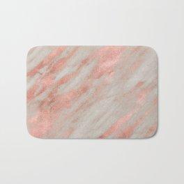 Marble Rose Gold White Marble Foil Shimmer Bath Mat