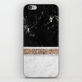 Black and White Marble Gold Glitter Stripe Glam #1 #minimal #decor #art #society6 iPhone Skin