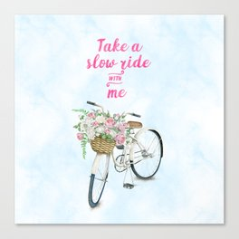 Take a Slow Ride With Me White Bicycle Flower Basket Canvas Print
