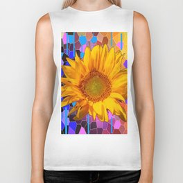 COLORFUL CARNIVAL YELLOW SUNFLOWER  ABSTRACT ART Biker Tank