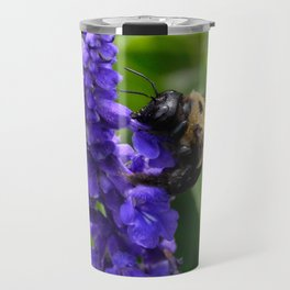 Bumble Bee on Veronica Spike Speedwell Flower by Teresa Thompson Travel Mug