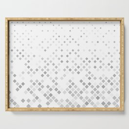 Grey Square Pattern Background Serving Tray