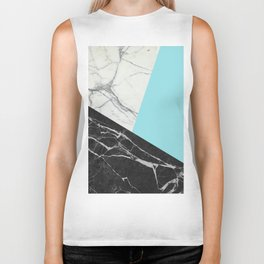Black and White Marble with Pantone Island Paradise Biker Tank