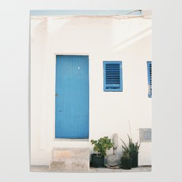 "Travel photography print ""Ibiza blue and white"" photo art made in the old town of Eivissa / Ibiza Poster"