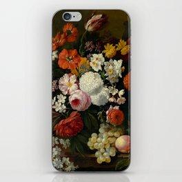 "Philip van Kouwenbergh ""Still life of flowers with roses, peonies, hollyhock, tulips, grapes..."" iPhone Skin"