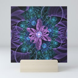 Bejeweled Butterfly Lily of Ultra-Violet Turquoise Mini Art Print