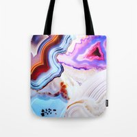 photography Tote Bags featuring Agate, a vivid Metamorphic rock on Fire by Elena Kulikova