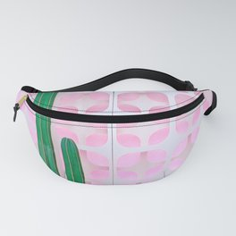Mexican Fence Post and Barrel Cactus with Mid-Century Background Pattern Fanny Pack