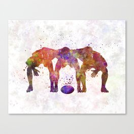 Rugby men players 05 in watercolor Canvas Print