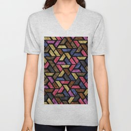 Seamless Colorful Geometric Pattern XIII Unisex V-Neck