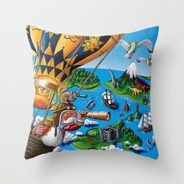 The Balloon Adventure Throw Pillow