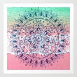 Summer beach bohemian mandala Art Print