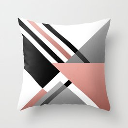 Sophisticated Ambiance - Silver & Rose Gold Throw Pillow