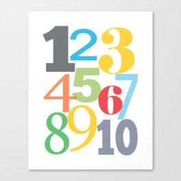 Modern Kids Number Art Canvas Print