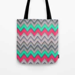 Modern turquoise neon pink gray geometrical ikat Tote Bag